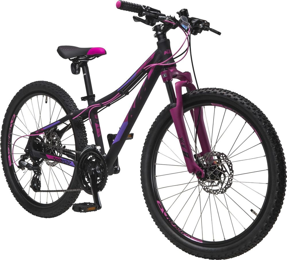Juniorcykel KTM Jr Trail Svart/Rosa 24 tum